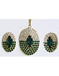 Green And White Zirconia Stone Studded Oval Shaped Pendant And Earrings - Stone And Metal