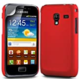 Gadget Giant Samsung Galaxy Ace Plus S7500 Red Hard Hybrid Case Skin Cover & LCD Screen Protector - GT-S7500