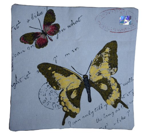 Womens Linen-Textured 36 Needle Jacquard Knit Butterfly Weave Pillowcase 17.71*17.71 Inch (Style D) front-647312
