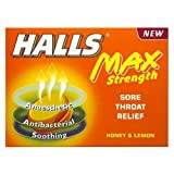 Halls Max Strength Sore Throat Relief Lozenges Honey & Lemon 20