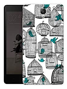 "Cages And Birds Cute Printed Designer Mobile Back Cover For ""Xiaomi Redmi Note - Note 4G"" By Humor Gang (3D, Matte Finish, Premium Quality, Protective Snap On Slim Hard Phone Case, Multi Color)"