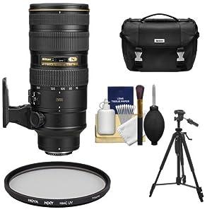 Nikon 70-200mm f/2.8G VR II AF-S ED-IF Zoom-Nikkor Lens + Nikon Case + Hoya UV Filter + Tripod Kit for DSLR Cameras