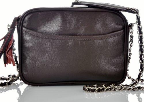 CONTEMPO Cntmp Trendbag Crossover Schultertasche Soft Leder Tasche Braun 22x16 cm (BxH)