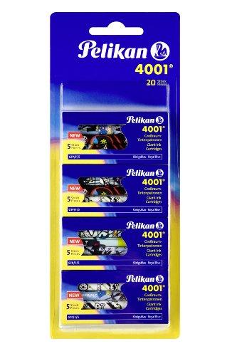 Pelikan Encre 4001 Pack de 4 Etuis de 5 Cartouches d'encre Bleu royal Grand modèle illustrées