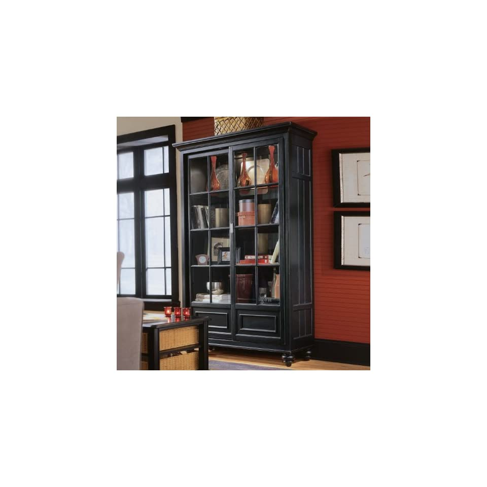 Black Bookcase Wall Unit Home Office Library Cabinet
