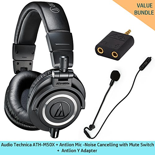 Audio-Technica-ATH-M50x-Professional-Studio-Monitor-Headphones-with-Antlion-Audio-ModMic-Attachable-Boom-Microphone