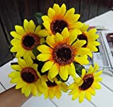 Sunflower Party Decor Silk Flowers Home Artificial Bouquet 7 Heads,Hot Selling Wedding Floral Decoration Artificial Garden Craft