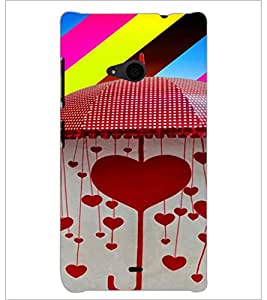 PrintDhaba Hearts D-4663 Back Case Cover for MICROSOFT LUMIA 535 (Multi-Coloured)