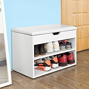SoBuy FSR25-W, Wooden Shoe Cabinet, 2 Tiers Shoe Storage Bench Shoe Rack with Folding Padded Seat, 60x30x44cm, White