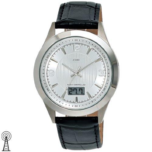 JOBO Herren-Funk-Armbanduhr Edelstahlgehäuse Lederband Mineralglas Funkuhr