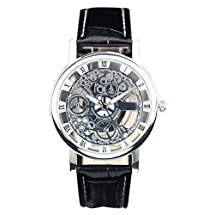 COCOTINA Mens Womens New Stylish Roman Numerals Faux Leather Skeleton Sports Wrist Watch (Black Silver)