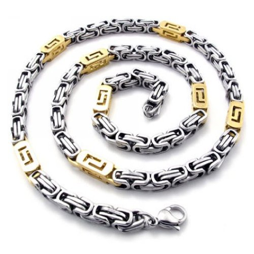 CET Domain SZ14-76082-GOLD & SILVER Mens Colored Necklace Titanium Steel Construction Jewelry-Color Gold & Silver