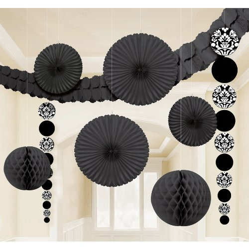"Amscan Damask Wedding Decorating Kit (9 Piece), 15.5 x 10.5"", Black"