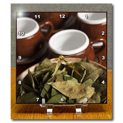 Dc_86965_1 Danita Delimont - Peru - Peru, Cuzco. Coca Leaves And Tea Cups - Sa17 Bja0152 - Jaynes Gallery - Desk Clocks - 6X6 Desk Clock