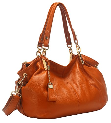 Obosoyo Women's Handbag Genuine Leather Tote Shoulder Bags Soft Hot Brown (Leather Italian Handbags compare prices)