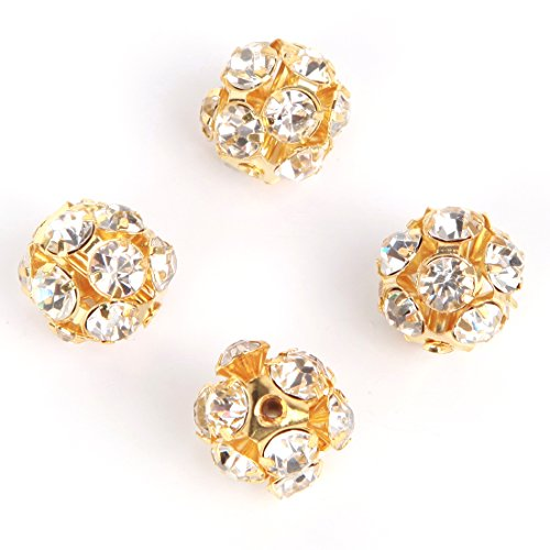 RUBYCA 8MM Hollow Metal Round Disco Ball Bead DIY Gold Color Inlay White Clear Crystal 50pcs