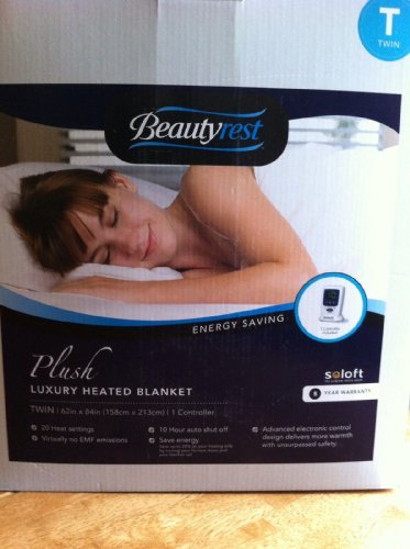 Big Save! BeautyRest - TWIN - Plush Luxury Heated Blanket - Vanilla