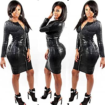 Amazon.com: Women's Tight Dress Imitation Leather Long Sleeve Zip