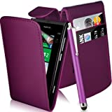 Nokia Lumia 800 Purple Top Flip PU Leather Case + Screen Protector + Polishing Cloth & Touch Screen Stylus By Connect Zone®