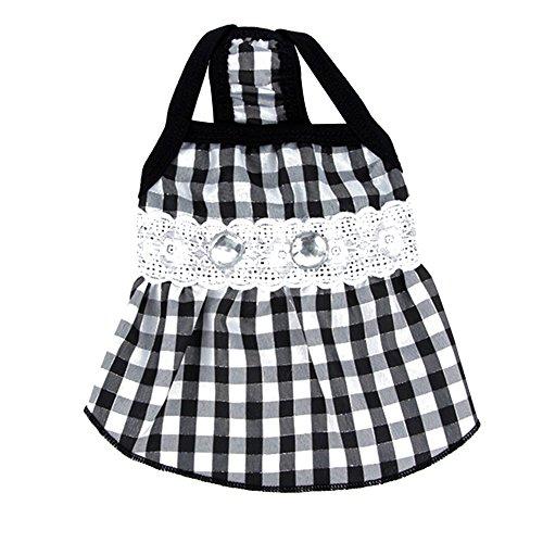 Silvercell Haustier-Welpen-Sommer-Kleidung Lace Plaid R?cke Hemden Schwarz S