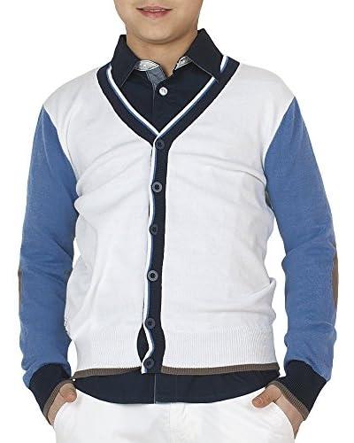MEK Cardigan [Bianco/Blu Chiaro]