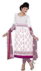 Khoobee Presents Crepe Dress Material(White,Rani,White)