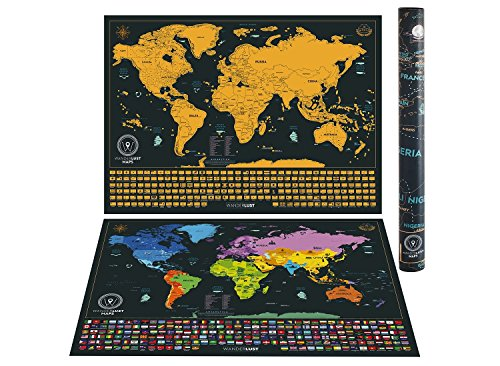 Scratch off world map detailed cartography 24x16 travel size scratch off world map detailed cartography 24x16 travel size gold and black world map with vibrant colors and hidden iconic landmarks of the world gumiabroncs