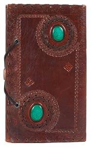 Geburtstagsgeschenkidee: INDIARY Traumtagebuch aus Büffelleder und handgeschöpftem Papier - zwei Natursteine 23x14cm - Green Stones