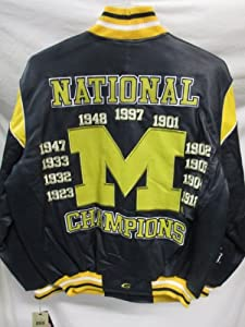 G-III Michigan Wolverines Mens Large Full Zip 11 Time National Champions All Leather... by G-III Sports
