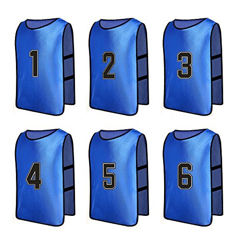 Senston Numbered Training Vests Scrimmage Team Practice Vests Pinnies Sports Bibs(6-pack) 6 Colors (Blue Numbered Basketball Jersey compare prices)