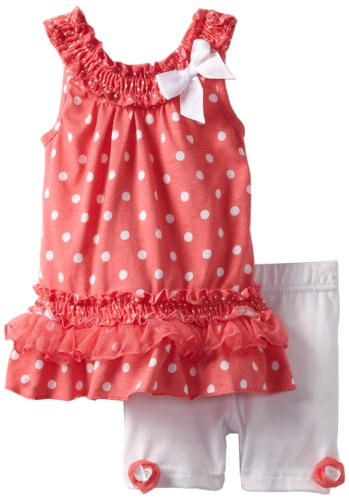 Little Lass Baby-Girls Infant 2 Piece Dress Set With Polka Dots, Coral, 24 Months