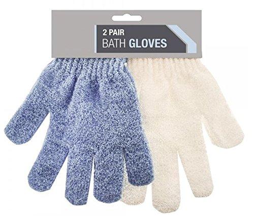 2-pair-exfoliating-bath-gloves-shower-bathroom-skin-face-body-wash-massage-loofah-scrub-spa-mitt-tan