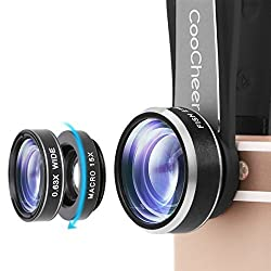 Coocheer Fisheye Camera Lens 3 in 1 Kit 198 Degree Clip On Fisheye Lens,15x Macro Lens 0.63x Wide Angle Lens for Iphone, Camera, Laptops, Ipads(Silver)