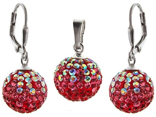 Stylish Jewellery: 925 Sterling Silver Shamballa Aurore Boreale, Pink & Red Swarovski Crystal Ball Secure Lever Back Earrings & Necklace Set. Come With Sterling Silver Snake Chain - 42cm