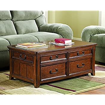 Ashley Furniture Signature Design - Woodboro Lift Top Coffee Table with End Drawers - Rectangular - Dark Brown