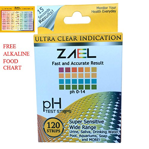 ZAEL pH Test Strips, 120ct Premium Value with Free Alkaline Food Chart (6x8), Professional Lab Grade Test Strips, Wide Range pH Test for Water, Urin