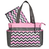 Gerber Chevron Diaper Tote Bag, Pink/Grey/White