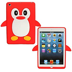 Red Cute Penguin Protective Soft Silicone Back Shell Case Cover For Apple iPad Mini
