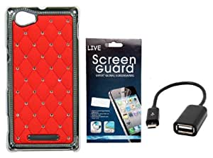 KolorEdge Back cover + Screen Protector+ OTG Cable for Sony C1904 Xperia M - Red