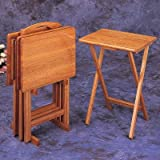 4 Pc Oak Finish Wood Tv Tray Table Set With Stand