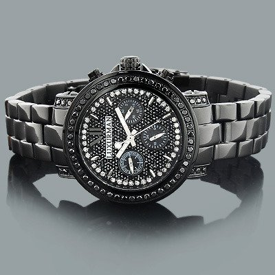 Iced Out Watches: Luxurman Black Diamond Watch 2.15ct