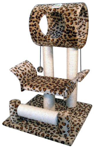 Go Pet Club Cat Tree Condo House, 18W x 17.5L x 28H Inches, Leopard (Cat Houses & Condos compare prices)