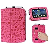 i-UniK LeapFrog Epic Case Custom Folio Kickstand hand strap tablet case for 2015 LeapFrog EPIC tablet Bonus Stylus (Cute Pink)