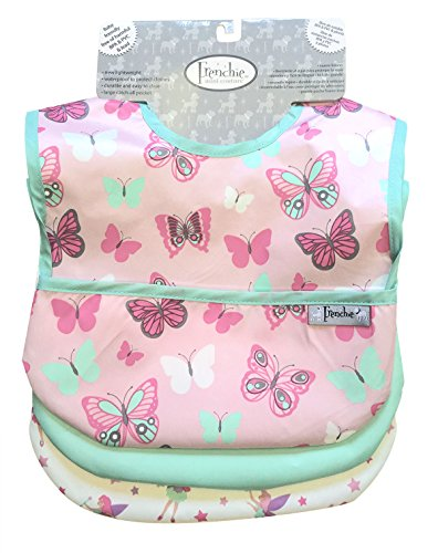 Waterproof Feeder Bib w/Flip Pocket, 3 Pack, Fairies/Butterflies, Frenchie Mini Couture