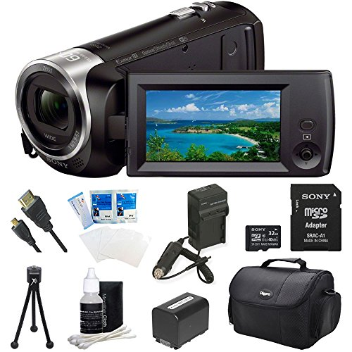 Sony HDR-CX440 HDR-CX440/B CX440 Full HD 60p Camcorder - Black Ultimate Bundle w/ 32GB High Speed MicroSD Card, Spare High Capacity Battery, AC/DC Charger, Table top Tripod, Deluxe Case, and much more (Sony Full Hd compare prices)