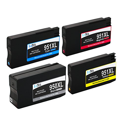 LxTek Remanufactured Ink Cartridge Replacement For New Generation HP 950XL & HP 951XL (1 Black | 1 Cyan | 1 Magenta | 1 Yellow) 4 Pack CN045AN CN046AN CN047AN CN048AN Compatible With Officejet Pro 8610, 8620, 8630, 8640, 8660, 251dw, 276dw MFP, 8100 - N811a, 8600 e-All-in-One - N911g, 8600 Plus - N911n, 8600 Premium - N911a Printer