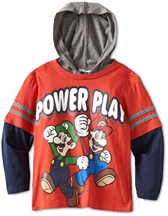 Nintendo Little Boys' Mario Hooded Doubler Tee, Red/Navy, 5