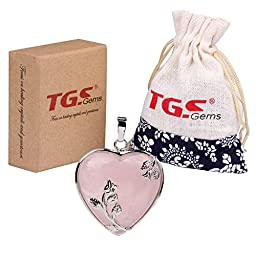 TGS Gems® Vogue Rose Quartz Tumbled Chakra Gemstone Cover Alloy Heart-Shaped With Flower Edge Pendant
