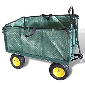 Chariot jardin remorque main en m tal rebords amovibles for Remorque de jardin 4 roues