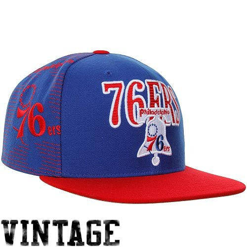 Mitchell & Ness Philadelphia 76ers Classic Laser Stitch Snapback Hat - Royal Blue/Red at Amazon.com